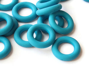 18mm Bright Sky Blue Ring Beads Vintage Plastic Links Jewelry Making Beading Supplies Loose Beads Large Hole Donut Beads Spacer Beads