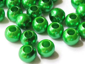 12mm Large Hole Pearls Green Pearl Beads European Beads Plastic Pearl Beads Round Pearl Beads Plastic Beads Acrylic Beads