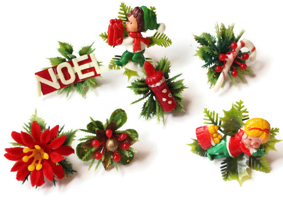 Vintage Christmas Decor, Flower Decoration, Holiday Craft Assortment 1 to 2 inches Bits and Baubles Findings Smileyboy
