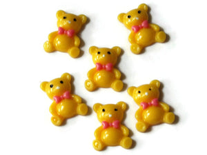 Yellow Bear Cabs Teddy Bear Decoden Bear with Bow Cabochons Flat Back Cabochons Resin Cabochons Jewelry Making Craft Supplies Smileyboy
