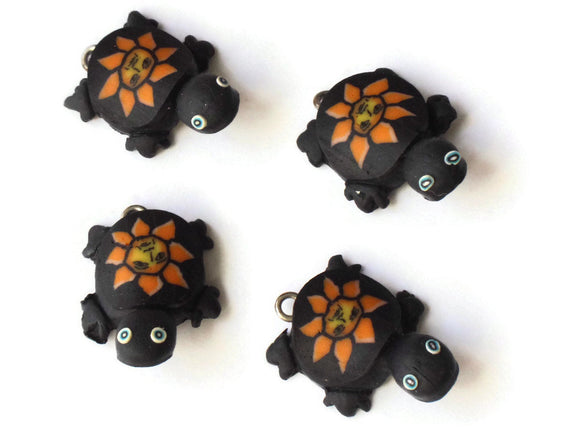 Black Turtles with Sun on the Shell Turtle Charms Tortoise Links Beads Jewelry Making Beading Supplies Polymer Clay Turtle Beads Smileyboy
