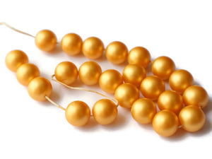 14mm Golden Yellow Faux Pearl Beads Vintage New Old Stock Bead Jewelry Making Beading Supplies Plastic Pearls Acrylic Pearls Made in USA