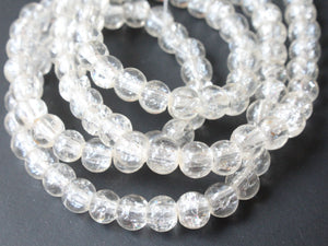 4mm Colorless Clear Crackle Glass Round Beads Full Strand Jewelry Making Beading Supplies Loose Sphere Beads Cracked Glass Ball Beads