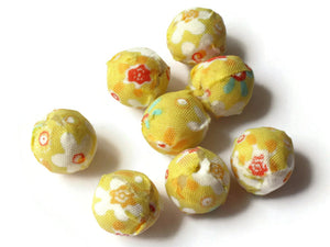 14mm Yellow Fabric Wrapped Beads Woven Beads Round Beads Ball Beads Yellow Flower Beads Multicolor Beads to String Jewelry Making