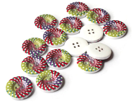 20mm Buttons Spiral Buttons Colorful Buttons Multicolor Buttons 4 Hole Buttons Wood Buttons Round Buttons Jewelry Making Sewing Supplies