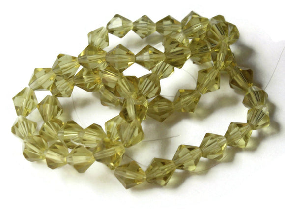58 6mm Yellow Beads Faceted Bicone Beads Glass Beads Spacer Beads Beading Supplies Jewelry Making Bead Strand Faceted Glass Beads