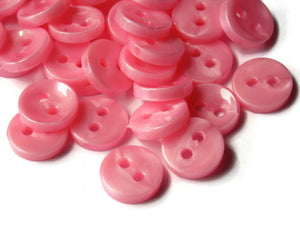 11mm Opaque Pearl Pink Buttons Flat Round Plastic Two Hole Buttons Jewelry Making Beading Supplies Sewing Supplies