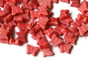 Red Butterfly Beads Plastic Butterflies Small Beads Moth Beads Animal Beads Acrylic Beads Jewelry Making Beading Supplies Loose Beads