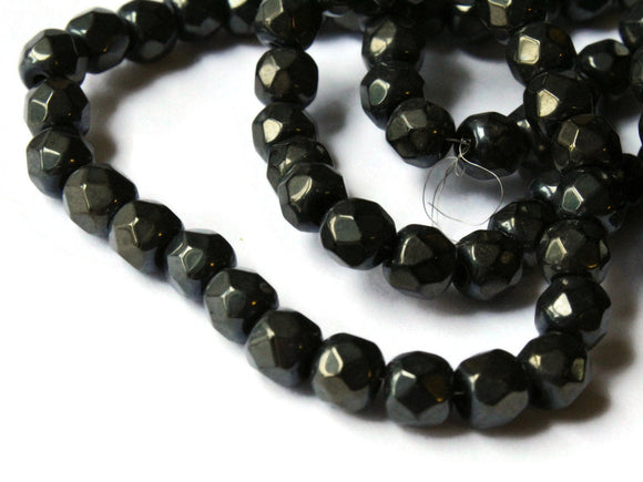 5.5mm Black Crystal Beads Faceted Round Beads Full Strand 20 Inch Strand Jewelry Making Beading Supplies Small Beads Spacer Beads