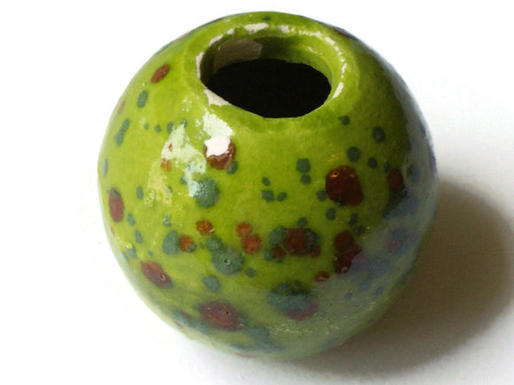 38mm Round Green with Brown Spots Bead Vintage Macrame Ceramic Porcelain Beads New Old Stock Macrame Beading Supplies Large Hole Beads