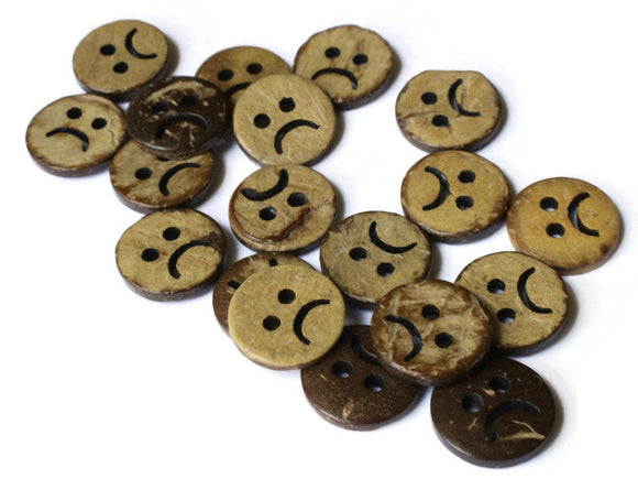 13mm Buttons Sad Face Buttons Brown Buttons Coconut Buttons Shell Buttons Wood Buttons 2 Hole Buttons for Unhappy Projects Emoji Buttons