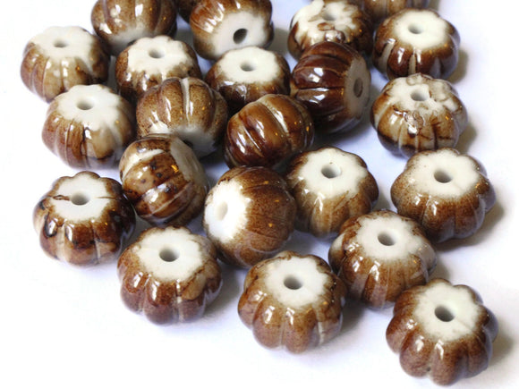 12mm x 8mm Brown Pumpkin Beads Fluted Rondelle Bead Acrylic Beads Plastic Beads Jewelry Making Abacus Beads Beading Supplies Smileyboy