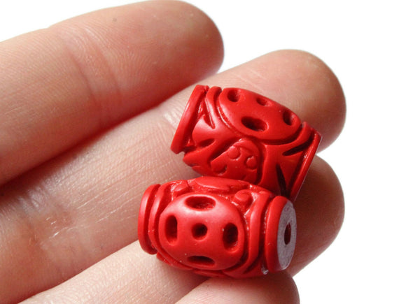 Carved Cinnabar Barrel Beads Cinnabar Beads Tube Beads Lacquer Beads Loose Beads Red Beads Patterned Beads Jewelry Making Beading Supply