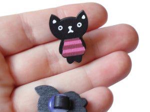24mm Black Cat Button Wooden Buttons Shank Buttons Kitty Cat Buttons Kitten Buttons Wood Buttons Kawaii Buttons Animal Buttons