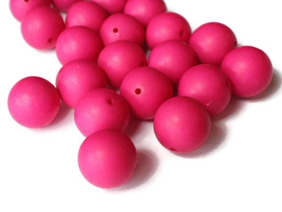 14mm Bright Pink Beads Vintage Lucite Beads Round Beads Ball Beads Sphere Beads Jewelry Making Beading Supplies Loose Beads Satin Beads