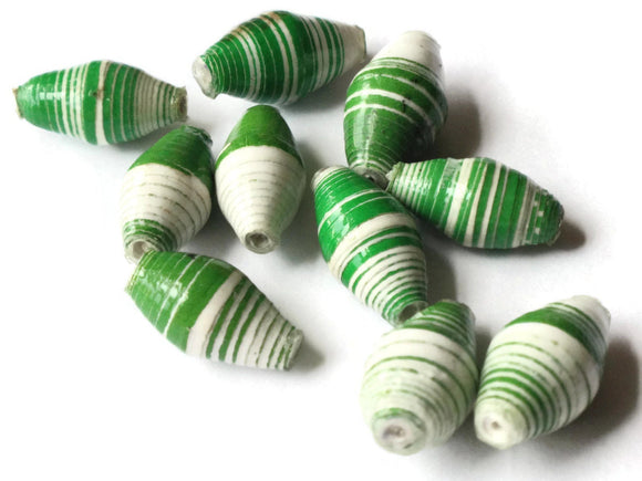 10 14mm Green and White Striped Ugandan Paper Beads Fair Trade Beads African Paper Beads Sealed Paper Beads Upcycled Bead Jewelry Making