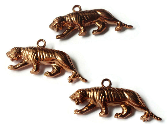 44mm Red Copper Tiger Charms Vintage Copper Plated Beads Plastic Beads Jewelry Making Beading Supplies Long Shiny Metal Focal Beads