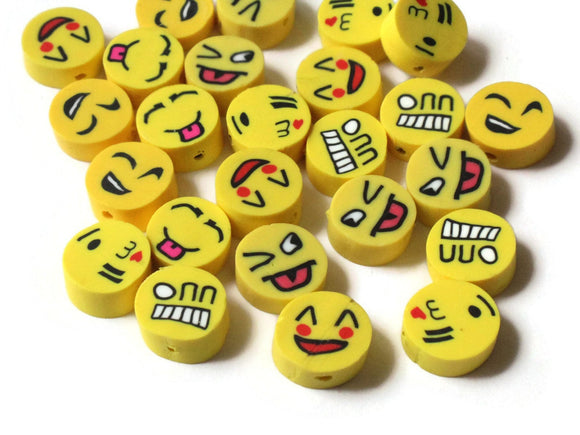Yellow Emoji Beads Polymer Clay Smiley Face Beads Coin Beads Mixed Beads Disc Beads Yellow Face Beads