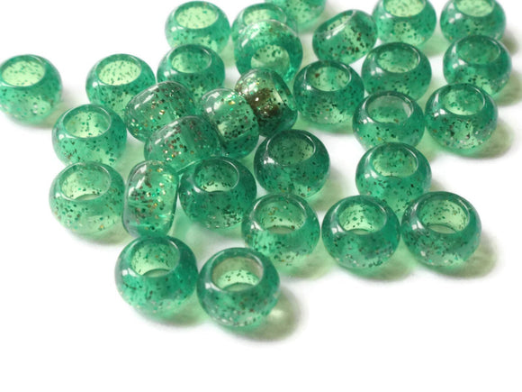 9.5mm Large Hole Beads Clear Green Beads with Gold Glitter Rondelle Beads Vintage Lucite Beads European Beads Jewelry Making Supplies