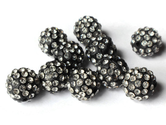 12mm Beads Black and White Rhinestone Beads Round Polymer Clay Sparkle Beads Shamballa Beads Pave Gumball Beads Beading and Jewelry Making
