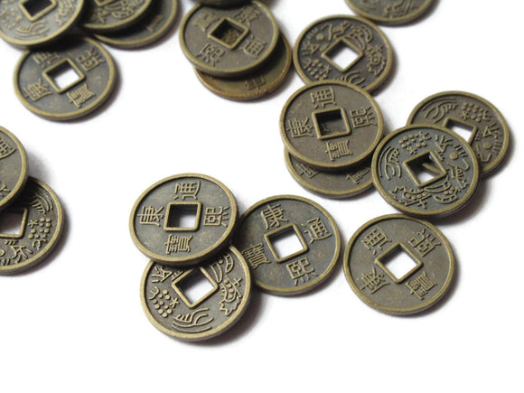 30 10mm Bronze Chinese Coin Beads Flat Round Miniature Replica Money Beads Jewelry Making Beading Supplies Small Ancient Coins with KangXi