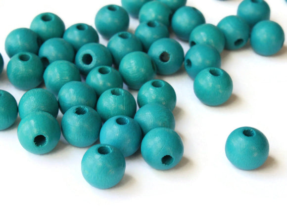 10mm Round Teal Blue Green Wood Beads Wooden Macrame Beads Vintage New Old Stock Ball Beads Jewelry Making Beading Supplies Smileyboy