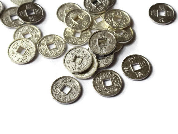 10mm Silver Chinese Coin Beads Flat Round Miniature Replica Money Beads Jewelry Making Beading Supplies Small Ancient Coins with KangXi