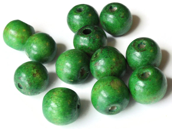 19mm x 17mm Round Green Wood Beads Organic Shaped Wooden Ball Beads Jewelry Making Beading Supplies Macrame Beads Large Hole Beads