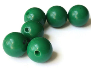 6 16mm 5/8 Inch Dark Green Ball Buttons Lucite Round Buttons Vintage Lucite Buttons Jewelry Making Beading Supplies Sewing Supplies
