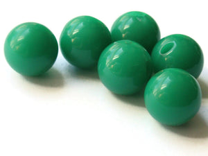 6 16mm 5/8 Inch Green Ball Buttons Lucite Round Buttons Vintage Lucite Buttons Jewelry Making Beading Supplies Sewing Supplies