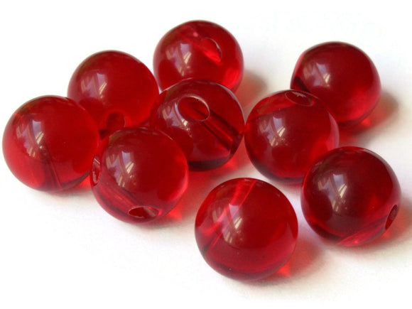 9 11mm 7/16 Inch Red Ball Buttons Lucite Round Buttons Vintage Lucite Buttons Jewelry Making Beading Supplies Sewing Supplies