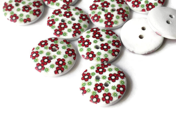 20mm Red Flower Buttons White Buttons Wood Buttons Round Buttons Two Hole Buttons Pattern Buttons Floral Buttons Wooden Buttons Smileyboy