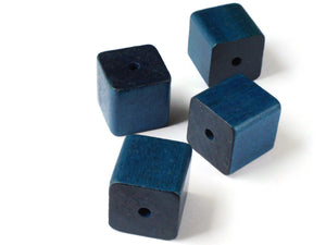 25mm or 1 Inch Vintage Wood Cube Beads Large Blue Beads Wooden Beads Jewelry Making Beading Supplies Macrame Beads