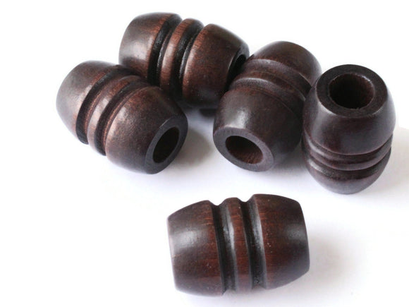 Dark Brown Fluted Barrel Beads 5 29mm Wood Macrame Beads Big Hole Chunky Beads Wooden Beads Jewelry Making Beading Supplies