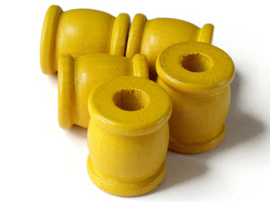 22mm Yellow Drum Beads Big Wooden Beads Yellow Spool Beads Large Hole Beads Vintage Wood Beads Tube Beads Jewelry Making Beading Supplies