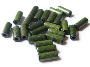 18mm Tube Beads Green Vintage Wood Beads Wooden Beads Jewelry Making Macrame Beads New Old Stock Beads