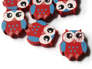 22mm Red Beads Wooden Owl Beads Animal Beads Wood Beads Bird Beads Cute Beads Multicolor Beads Novelty Beads to String
