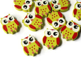 22mm Yellow Beads Wooden Owl Beads Animal Beads Wood Beads Bird Beads Cute Beads Multicolor Beads Novelty Beads to String