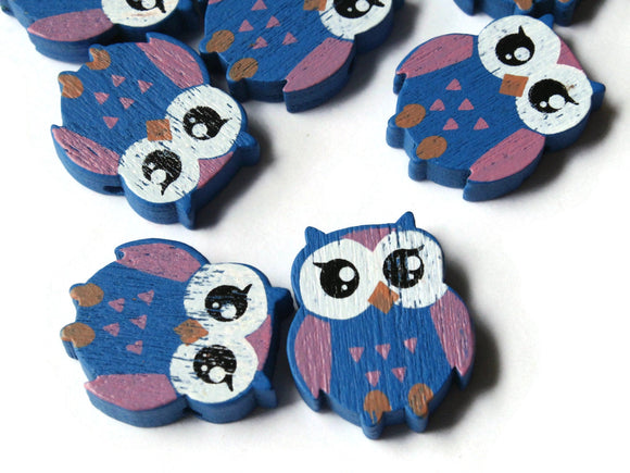 22mm Blue Beads Wooden Owl Beads Animal Beads Wood Beads Bird Beads Cute Beads Multicolor Beads Novelty Beads to String