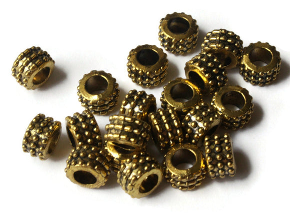 6mm x 9mm Gold Rondelle Tube Beads Bumpy Beads Tibetan Style European Beads Large Hole Beads Loose Beads Jewelry Making Beading Supplies