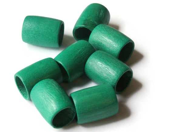 19mm x 15mm Green Beads Tube Beads Wood Beads Vintage Beads Wooden Beads Large Hole Beads Loose Beads New Old Stock Beads Macrame Beads