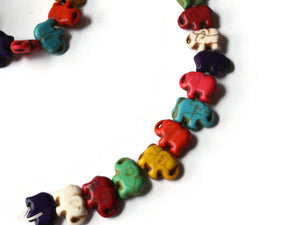 15mm Howlite Elephant Beads Gemstone Beads Dyed Beads Mixed Color Beads Multicolor Beads Jewelry Making Beading Supplies Howlite Beads