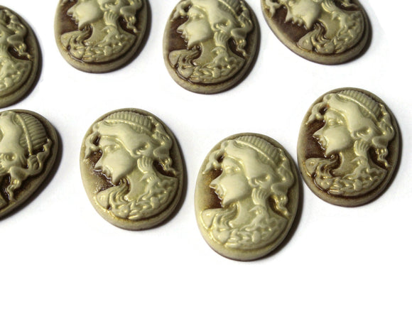 25mm x 18mm Brown Cameo Cabochons Woman Face Cameo Cabs Resin Cabochons Jewelry Making Beading Supplies Decoden Resin Cameos
