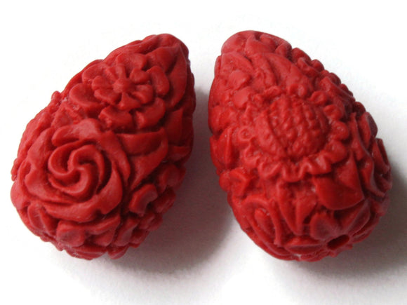 2 Floral Cinnabar Teardrop Beads Lacquer Beads Loose Beads Red Flower Patterned Beads Jewelry Making Beading Supply