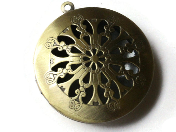 35mm Round Filigree Locket Brass Locket Charm Jewelry Making and Beading Supplies Diffuser Pendant