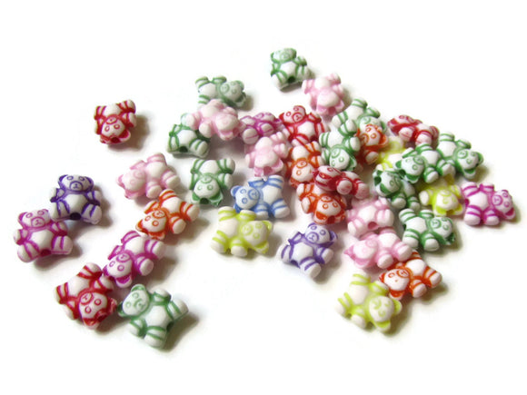 Mixed Color Rainbow Bear Beads Teddy Bear Beads Plastic Beads Animal Beads Kawaii Beads Toy Beads Small Beads Jewelry Making Cute Beads