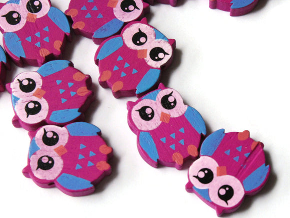 22mm Purple Beads Wooden Owl Beads Animal Beads Wood Beads Bird Beads Cute Beads Multicolor Beads Novelty Beads to String