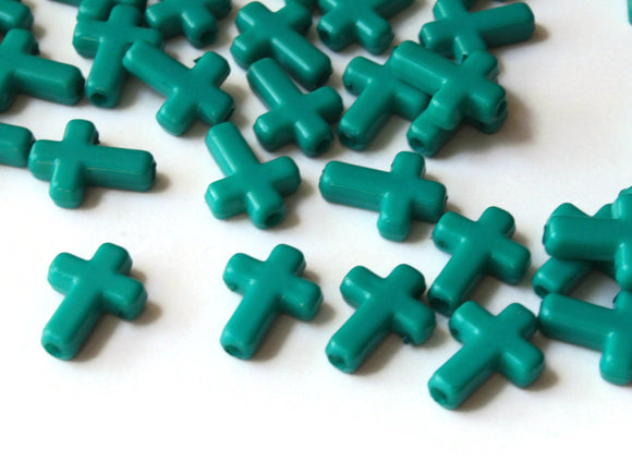 16mm Cross Beads Teal Green Cross Beads Plastic Crosses Christian Beads Jewelry Making Beading Supplies Acrylic Cross Beads Smileyboy