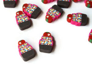 20 Cupcake Beads Cute Beads Cupcakes with Sprinkles and a Cherry Food Beads Dessert Beads Polymer Clay Beads Jewelry Making Beading Supply
