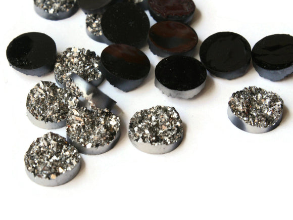 Silver Grey Druzy Cabochons 11mm Faux Druzy Cabochons Round Druzy Cabs Resin Cabochons Jewelry Making Decoden Tiles Scrapbooking Supplies